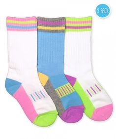 7633108b519 Jefferies Socks Girls Pastel Neon Sporty Crew 3 Pair Pack Fluffy Socks