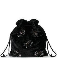 Shop Miu Miu Black Velvet floral sequin pouch bag from our Mini Bags collection. Miu Miu Handbags, Fashion Handbags, Fashion Bags, Beaded Clutch, Beaded Purses, Drawstring Bag Diy, Diy Handbag, Pouch Bag, Tote Bag