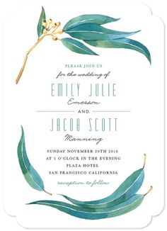 "Wedding Designs ""Eucalyptus Leaves"" - Rustic Wedding Invitations in Eucalyptus by Four Wet Feet Studio. Cheap Wedding Invitations, Rustic Invitations, Wedding Invitation Design, Wedding Stationary, Invitation Cards, Wedding Envelopes, Invitation Suite, Wedding Themes, Wedding Designs"