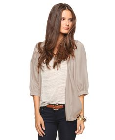 pleated woven cardigan