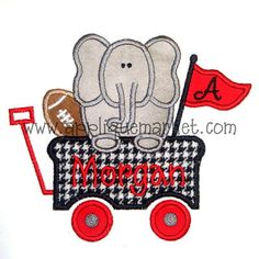 Show your team spirit with Applique Market's broad selection of sports-oriented designs. Be a fan favorite by wearing our colorful custom elephant wagon design.