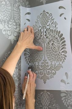 Tips, tricks, and pics for stenciling walls! # painting stencil Stenciling How-To: Tips, Tricks, & Pics Wall Stencil Patterns, Stencil Diy, Damask Wall Stencils, Painting Patterns, Paint Stencils, Stencils For Walls, Wall Stencil Designs, Bird Stencil, Stencil Wall Art