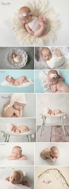 11 day old Genevieve and her mint/cream inspired newborn photo shoot in studio.  Sunny S-H Photography Winnipeg
