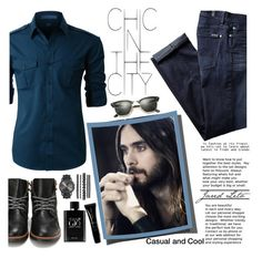 """Casual and Cool"" by fashionistlady ❤ liked on Polyvore featuring LE3NO, 7 For All Mankind, jared, Ray-Ban, Giorgio Armani, Armani Beauty, men's fashion and menswear"