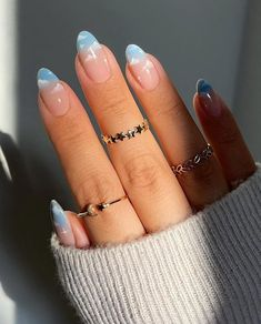 Oval Acrylic Nails, Almond Acrylic Nails, Oval Nails, Almond Nails, Blue Ombre Nails, Yellow Nails, Ombre Nail Colors, Blue Gel Nails, Black Nails