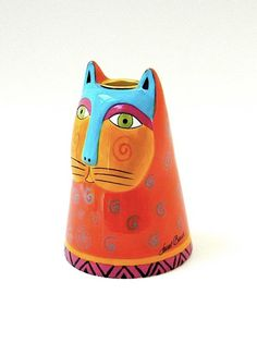 "Laurel Burch ceramic cat candle holder, c1985. Small (5 1/4"" tall)"