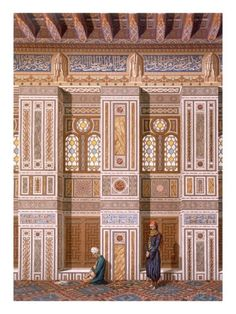 Cairo: Interior of the Mosque of Qaitbay; Worshippers Pray at the Side Wall of the Mihrab C15th Giclee Print by Emile Prisse d'Avennes at Al...
