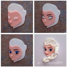Disney Frozen Elsa cupcake topper step-by-step