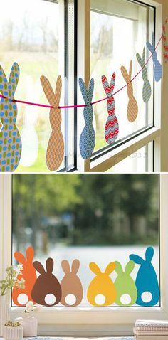 Bunny garland for easter window decor classroom window decorations, easter bunny decorations, easter garland Diy Décoration, Easy Diy, Simple Diy, Simple Crafts, Spring Crafts, Holiday Crafts, Spring Home Decor, Holiday Ideas, Cute Diy