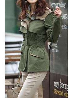 Flounced Lapel Cynched Waist Anorak