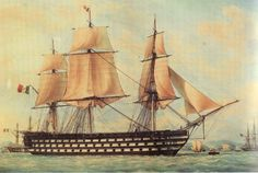 "Portrait of the French 1st rate ship-of-the-line ""Montebello"", by François Roux"