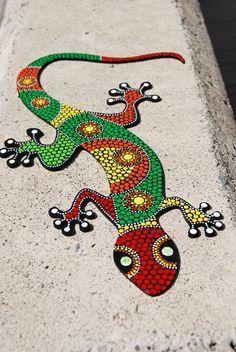Lizard Gecko& dot art& Decorative lizard& Hand by Mandalaole Dot Art Painting, Mandala Painting, Mandala Art, Stone Painting, Mosaic Crafts, Mosaic Projects, Mosaic Art, Colorful Lizards, Painted Rocks