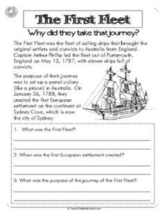 First fleet, year 4 activity. Questioning why they took the journey. Teaching Skills, Primary Teaching, Teaching Ideas, Primary History, First Fleet, Mystery Of History, History Mysteries, History Activities, Kids Class