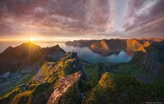 """Norway, Senja """"Senja island hosts some of the most spectacular hikes in the world. Imagine that you climb up to the Mountain top and see all the world beneath your feet! Small villages, ocean fog and wonderful midnight sun rolling over horizon..."""""""