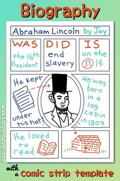 Blog Post: writing a biography of Abraham Lincoln is one way to use a comic strip template in the classroom... check out this article for over 50 more great ideas. Keep a variety of printable comic layouts on hand to inspire kids to write and design nonfiction stories, graphic novels, math word problems, summaries, and much more. #comics #classroom #activity #comicstrip #templates #kids