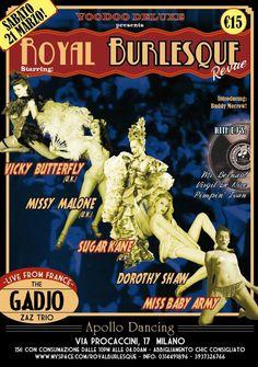 art work by Voodoo De Luxe © Vintage Web Design, Voodoo, Burlesque, Flyers, Dancers, Art Work, Exotic, Army, Butterfly