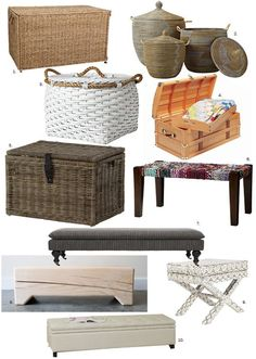 Perfect for the Foot of the Bed: Neutral Trunks, Benches & Baskets — Roundup