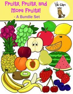 If you liked my free fruit clip art, here is the complete set! In addition with the free set, this bundle also includes 17 images of different fruit and looks. All graphics come in vibrant colors, as well as the black and white versions. What is included: - Apples (red and green) - Cut apple - Bananas - Peeled banana - Blackberry - Blueberry - Raspberry - Strawberry - Cherries - Kiwi - Cut kiwi - Peach - Cut Peach - Watermelon - Cut Watermelon - Grapes (red and green) - Lemon - Lime - Orange…