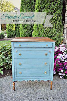 French Enamel Blue Antique Dresser - Gray Table Home