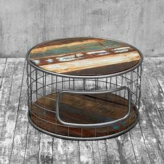 Modern Rustic Coffee Table with Caged Steel Base | Buy Tables