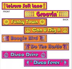Disco Street Sign Cutouts Mega Pack Of 4 Party Decoration's & Garden Disco Theme Parties, Disco Party Decorations, Party Themes, Party Ideas, Party Fun, Golf Decorations, Neon Party, Work Party, Fiesta Party