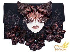 Black clutch bag Leather copper clutch Black roses by spiculdegrau