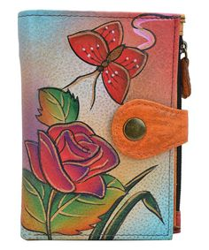 This Rose Butterfly Hand-Painted Leather  Wallet is perfect! #zulilyfinds