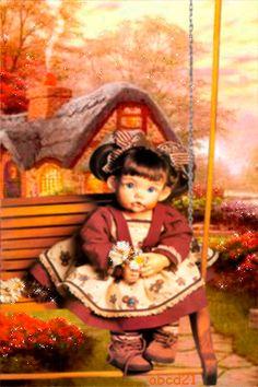 Малышка на качелях - анимация на телефон №1351824