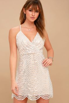 Sexy White and Silver Dress - Sequin Mini Dress - LWD - Lulus