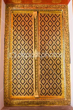 Native Thai style of Buddhist temple door