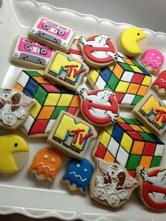 Awesome cookies by SweetAmbs. PacMan, Ghostbusters, and Gremlins, oh myyy! Not to mention the Rubik's cube. Iced Cookies, Cute Cookies, Cookies Et Biscuits, Sugar Cookies, 80s Birthday Parties, 40th Birthday, Birthday Sayings, Birthday Images, Birthday Greetings