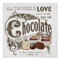 cartel vintage chocolate - Buscar con Google
