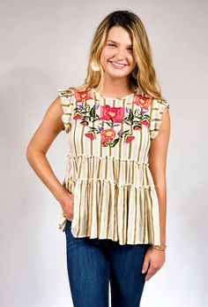 Delilah Embroidered Tiered Top – Groovy's Tiered Tops, Blouse Outfit, Fashion Sewing, I Love Fashion, Cute Tops, Floral Embroidery, Hand Embroidery, Floral Tops, Cool Outfits