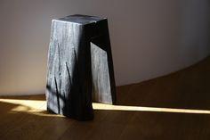 Ebonized &oiled Oak, Top 25x25,H 60cm