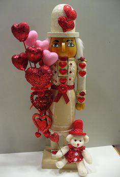 NUTCRACKER~Valentine nutcracker-red/pink hearts- teddy of a kind Valentine Day Wreaths, Valentines Day Decorations, Valentine Crafts, Be My Valentine, Holiday Crafts, Holiday Fun, Christmas Decorations, Nutcracker Sweet, Nutcracker Soldier
