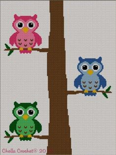 Colorful Owls in Tree 2 Afghan Crochet Knit Cross Stitch Pattern Graph