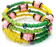 Green and Pink Beaded Bracelet by RandRsWristCandy on Etsy, $12.00