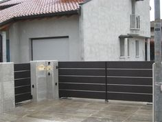 Fence Wall Design, Modern Fence Design, Arch House, Front Fence, Gate, Garage Doors, Sweet Home, Interior Design, Architecture