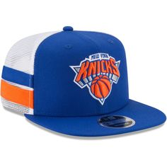 a741617166c11 Men s New York Knicks New Era Blue White Striped Side Lineup 9FIFTY  Adjustable Hat