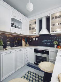 интерьер кухни с белым кухонным гарнитуром