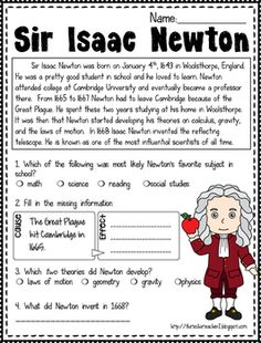Free Sir Isaac Newton Reading Passage With Images Reading