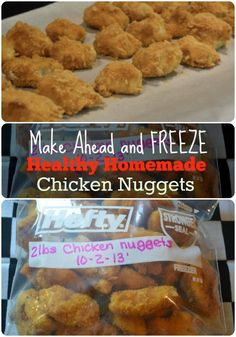 Great for easy weeknight meals. Make a Huge … Healthy- Freezer Chicken Nuggets. Great for easy weeknight meals. Make a Huge batch at a time. Make Ahead Freezer Meals, Freezer Cooking, Easy Weeknight Meals, Healthy Meals For Kids, Kids Meals, Healthy Freezable Meals, Bulk Cooking, Baby Meals, Freezer Recipes