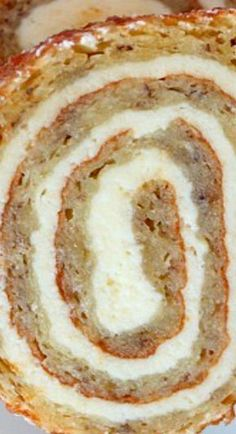 Banana Roll with Cheesecake Filling Oh my goodness. It's almost too good to be true. This cake is spectacular. I sat down with my plate of two slices to munch on while I typed up this post and Just Desserts, Delicious Desserts, Yummy Food, Cake Roll Recipes, Dessert Recipes, Mini Cakes, Cupcake Cakes, Cupcakes, Jelly Roll Cake