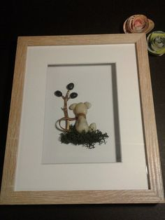 pebble art/dog lover/man's best friend/matted 8x10 frame