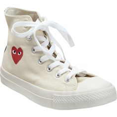 PLAY by Comme des Garçons Chuck Taylor High Top ($105) ❤ liked on Polyvore featuring shoes, sneakers, converse, converse shoes, white hi top sneakers, white shoes, white high top sneakers and canvas shoes