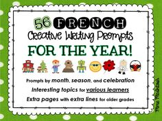 56 FRENCH Creative Writing Prompts - Year long writing prompts for your French Immersion classroom! Writing Resources, School Resources, French Resources, Writing Ideas, French Teacher, Teaching French, Communication Orale, Language Immersion, French Worksheets