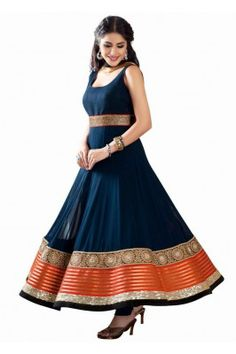 Real elegance comes out as you wear this alluring blue coloured embroidered georgette semi stitched designer salwar kameez with dupatta #womensfashion #anarkalisuit # embroideredsuit #latestanarkalisuit
