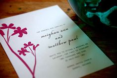 Stylized wildflowers decorate this modern wedding invitation making it perfect for a formal spring wedding!