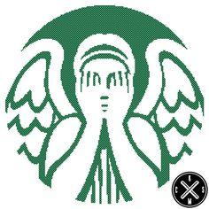 Weeping Angel (Starbucks) Cross Stitch Pattern. I never though of this but Isn't this the Weeping Angel in Dr. Who? Bad Wolf!!
