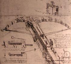 "Leonardo Da Vinci. ""Giant Crossbow"" Invention Drawing."